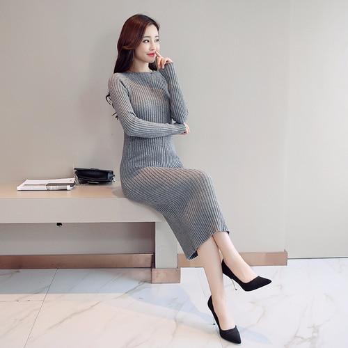 Женское платье-свитер, корейская мода, женские вязаные платья, зимний женский кардиган, облегающее платье, элегантные женские свитера, платья, Vestido платье женское вязаное платье платье женское трикотажное платье - Цвет: Gray