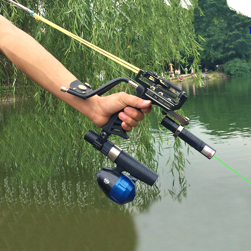 Laser Slingshot Catapult Fishing Bow Outdoor Powerful Slingshot For Shooting Crossbow Bow New High Quality Black Hunting Bow