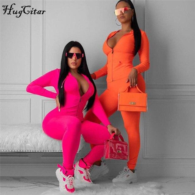 Hugcitar 2019 긴 소매 지퍼 업 bodycon 탑스 레깅스 2 2 개 세트 가을 겨울 여성 패션 streetwear 핑크 티셔츠 tra