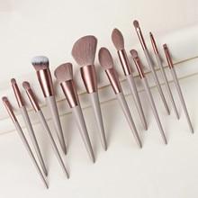 12 pièces pinceaux de maquillage ensemble fond de teint poudre maquillage brosse outils Kit Blush surligneur fard à paupières sourcils yeux correcteur lèvres brosse