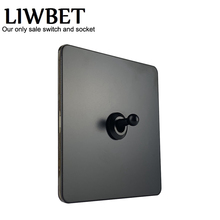 LIWBET Black Color 1 Gang 2 Way Wall Switch And Stainless Steel Panel Light Switch With Copper Toggle