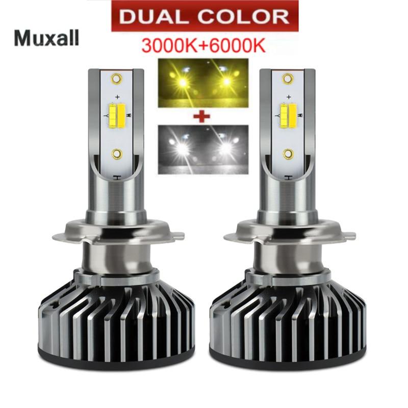 Светодиодная двухцветная лампа для автомобильных фар H4 H7 H11 9005 HB3 9006 HB4 H1 16000lm Автомобильные фары Противотуманные фары теплый белый 6000K 12 В лам...
