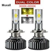 Ampoule de phare de voiture, LED double couleur, H4 H7 H11 9005 HB3 9006 HB4 H1 16000lm, feux antibrouillard, blanc chaud, lampe 6000K 12V