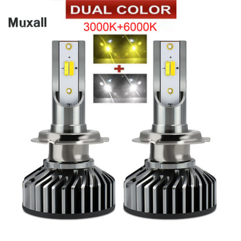 LED Dual Color Car Headlight bulb H4 H7 H11 9005 HB3 9006 HB4 H1 16000lm Auto Headlamp Fog Lights warm White 6000K 12V Lamp image