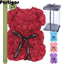 Fait à la main Roses ours rouge blanc couleur fleurs 25 cm saint valentin cadeau 2021 vacances fleurs de mariage ours Rose fleurs artificielles
