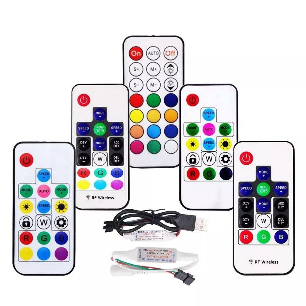 MINI 3/14/17/21Keys USB/DC RF Controller With Remote For WS2812B WS2811 SK6812 1903 LED Strip Light DC5-24V 2048 pixel