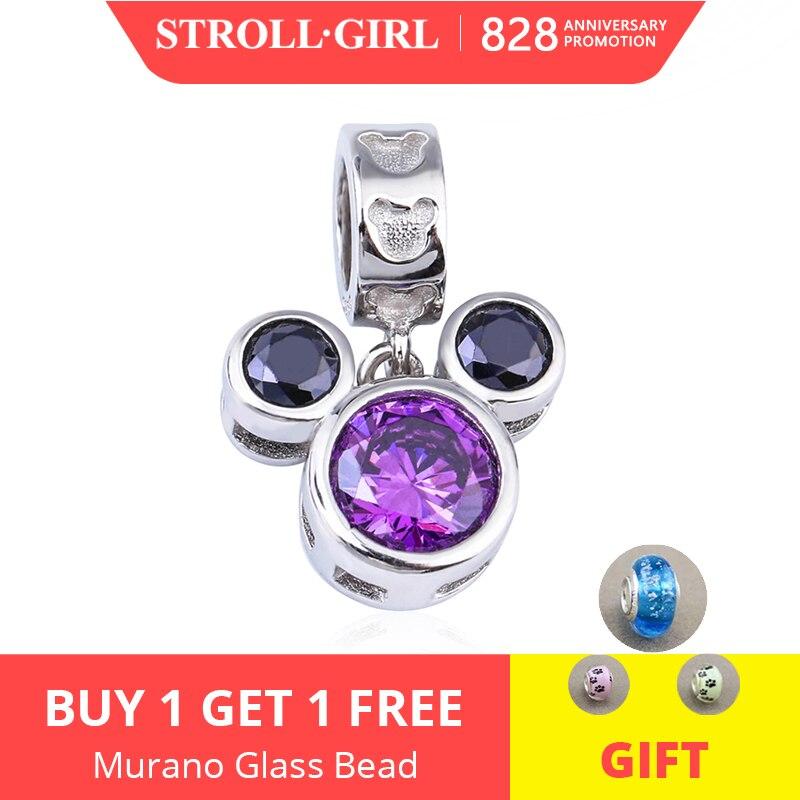 Bracelets Pendant Jewelry 925-Beads Mouse-Shape Mickey DIY Purple Real-Sterling-Silver