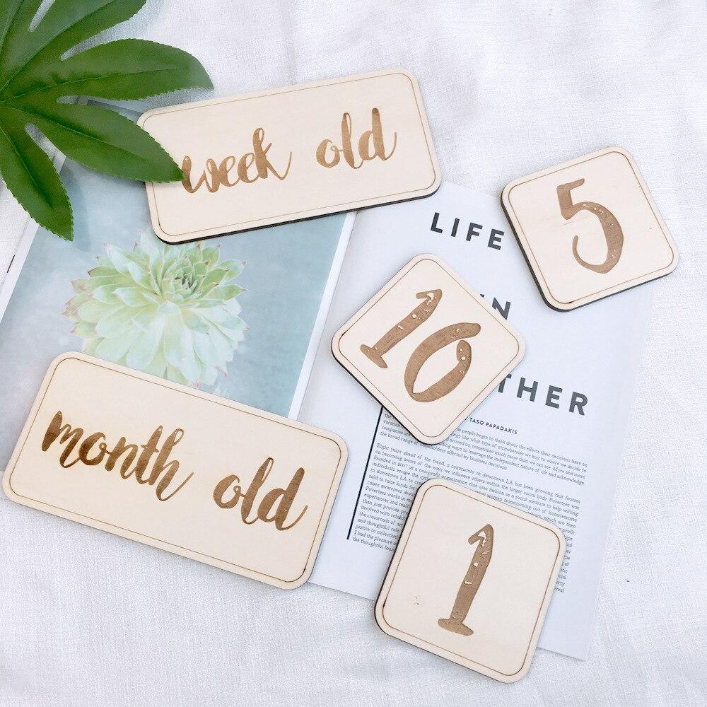 INS wood-marque en bois pour bébés   Marque du jour de la naissance de la carte d'anniversaire, décorations de fête d'anniversaire pour enfants, accessoires pour photographie et robe d'anniversaire