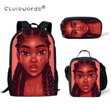ELVISWORDS Afro Black Woman Kids School Backpack for Teenagers Girls School Bags Lady Girls Rucksack  Mochila Scool Book Bag 2017 fashion kids backpacks girls school bags for teenagers cute pug animals dog poodle print school rucksack kids book bag