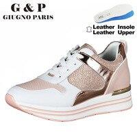 Zapatillas de deporte de piel auténtica para mujer, zapatos con plataforma, color rosa, a la moda, nuevo diseño, precio de fábrica, plantilla superior de cuero, 2021