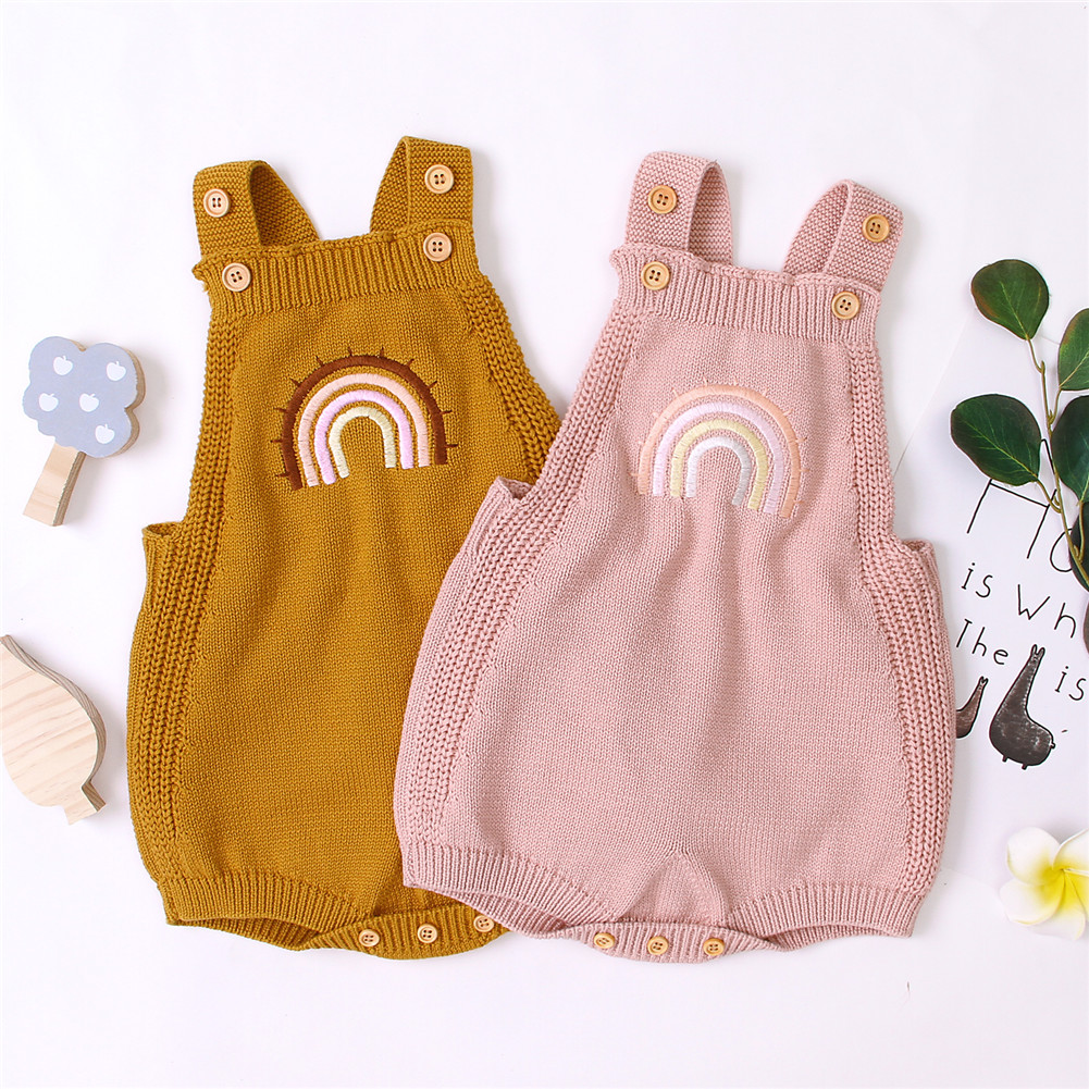 3-24M Newborn Infant Baby Girl Boy Rainbow Romper Knitted Jumpsuit Overalls Cute Toddler Baby Costumes
