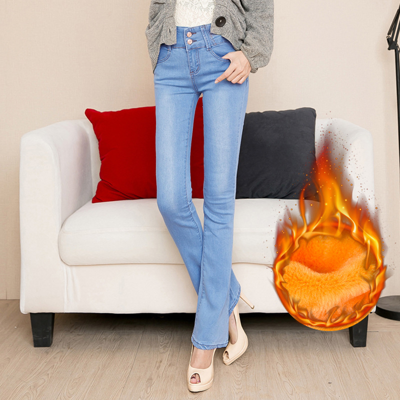 Shikoroleva, женские джинсы размера плюс, 5XL, 4XL, эластичный шнурок на талии, плотные, теплые, флисовые, женские зимние джинсы, брюки, черные, синие - 4