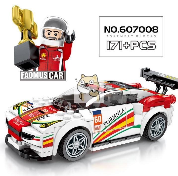 Детские сборные игрушки знаменитый автомобиль супер бегущий гоночный маленькие частицы Волшебные блоки для сборки конструктор-головоломка - Цвет: 008