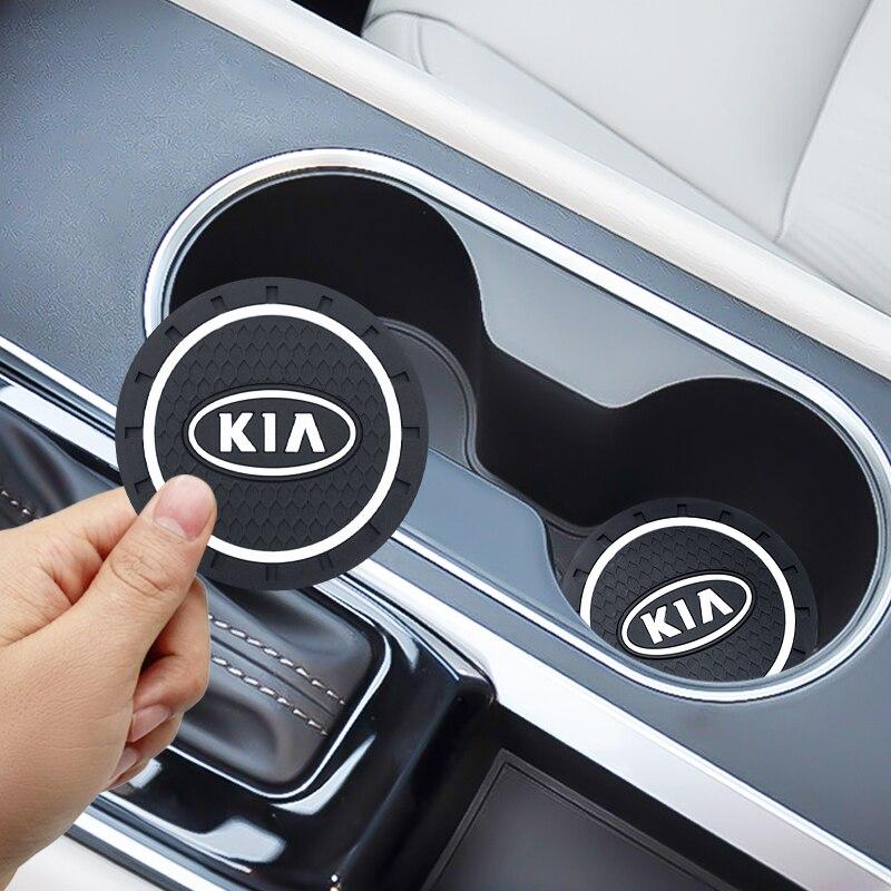 2 pçs suporte de garrafa de copo de água do carro antiderrapante almofada esteira de sílica gel para kia cerato sportage r k2 k3 k5 rio 3 4 sorento acessórios do carro