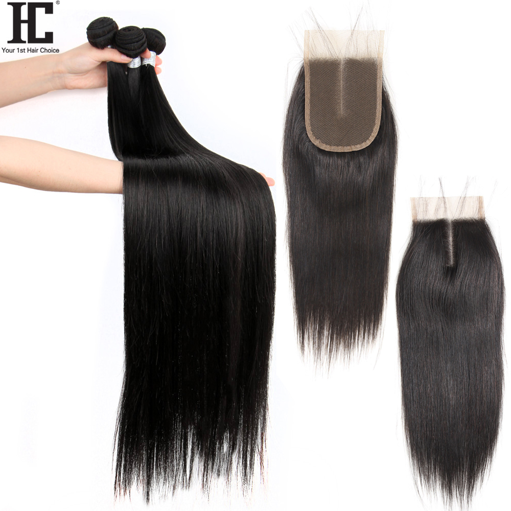 Brazilian 36 38 40 Inch Straight Hair Bundles With Closure Remy Straight Human Hair Weave 3 Bundles With Closure Bleached Knots