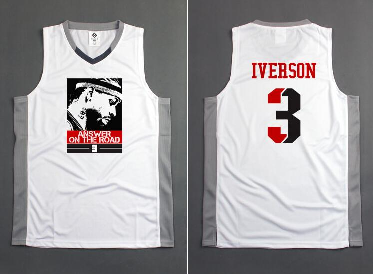 SYNSLOVE adult men solid white no.3 AI allen iverson training basketball sleeveless sport jersey loose plus size customized