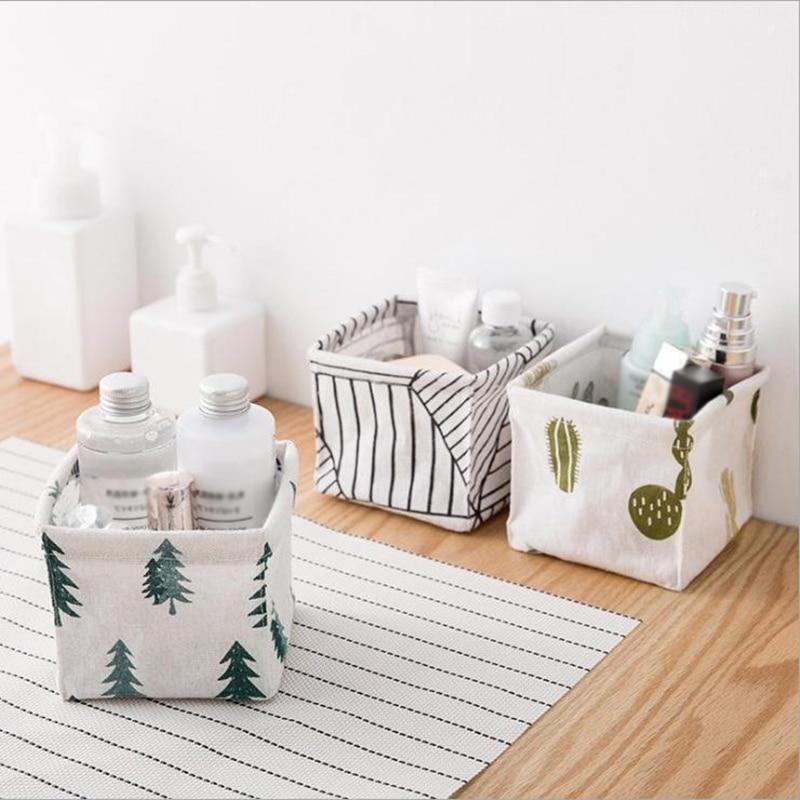 Fabric Desktop Storage Basket Sundries Makeup Organizer Case  High Quality Striped Plant Printed Storage Box Basket 2019 New
