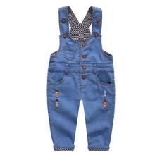 DIIMUU Toddler Baby Boy Girl Clothing Fashion Suspender Denim Romper Children Drawstring Pocket Washed Jeans Pants