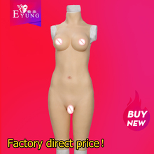 Eyung Silicone 5-point Bodysuit Crossdresser Silk Cotton Filled Breast Forms Fake Vagina Shemale Drag Queen Cosplay Jumpsuit