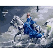 Princess Riding White Horse Character Painting By Numbers Oil On Canvas Handmade Digital Acrylic Paintings