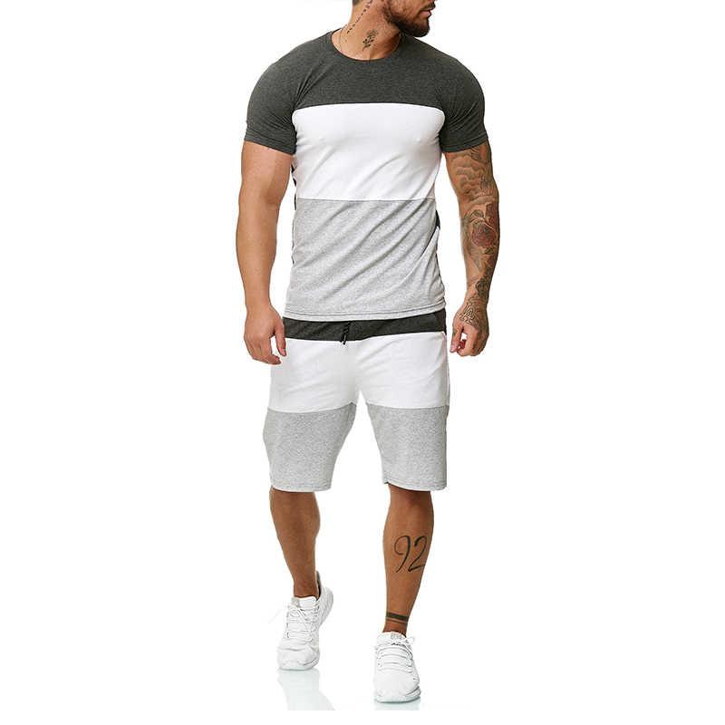 Conjunto de ropa de verano para hombre, chándal corto a rayas para hombre, trajes de chándal de dos uds, pantalones cortos para correr, ropa deportiva de moda informal 2020
