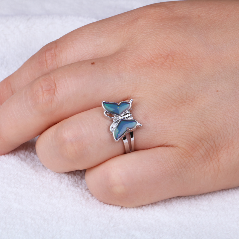 Silver color retro Adjustable mood Rings for Women temperature control color heart oval round butterfly  Fashion Jewelry 2020 4
