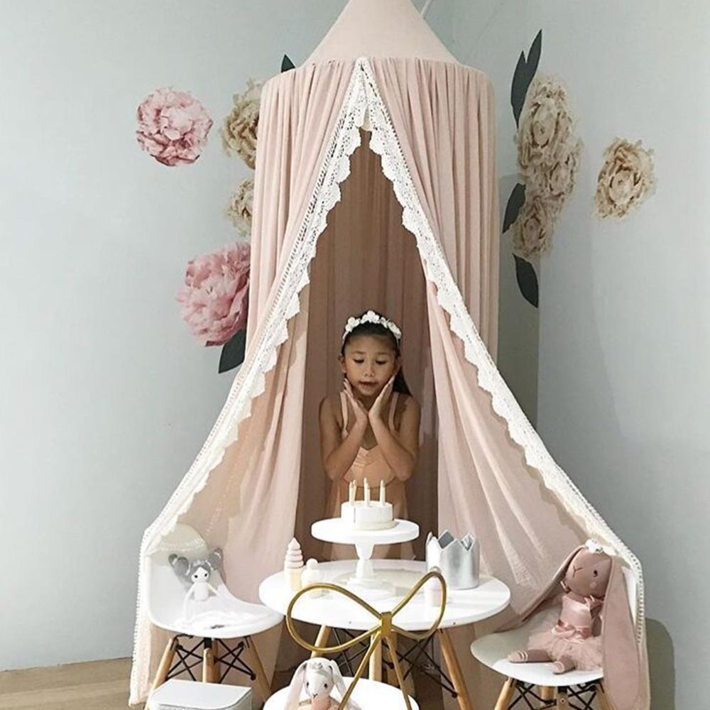 Bed Curtain for Babies Princes Round Canopy with Lace Kids Room Tent Bedcover Bedding Curtain for Babies Christmas Gift HM0094
