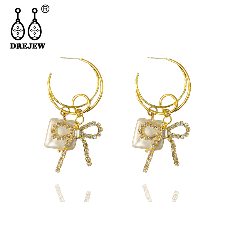 DREJEW Butterfly Square Gold Crystal Rhinestone Statement Earrings Sets 2019 925 Drop for Women Wedding Jewelry HE4011