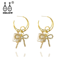 купить DREJEW Butterfly Square Gold Crystal Rhinestone Statement Earrings Sets 2019 925 Drop Earrings for Women Wedding Jewelry HE4011 онлайн