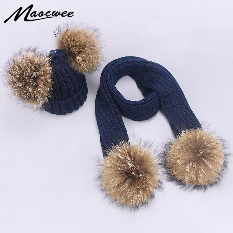 Scarf Hat Set Children Beanies PomPon Knitted Skullies Hats Pure Colour Autumn And Winter Warm Pure Colour Unisex Solid Color