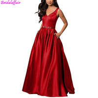 Red Sexy Satin Evening Dress V Neck Lace Up Back Prom Dresses A Line Long Evening Formal Gowns with Pockets vestido de noche