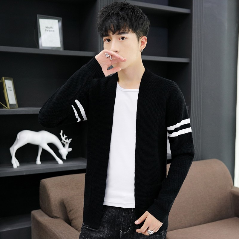 Korean Brand New Autumn Thin Mens Casual Knitted Sweaters Fashion Long Sleeve Pockets Slim Plus Size Male Open Stitch Streetwear