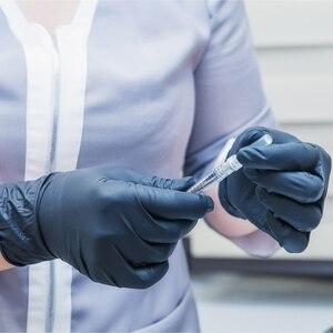 Image 2 - Czarne jednorazowe rękawice nitrylowe ochronne rękawice robocze rękawice do sprzątania w pudełku 100 szt. Do użytku domowego w miejscu pracy