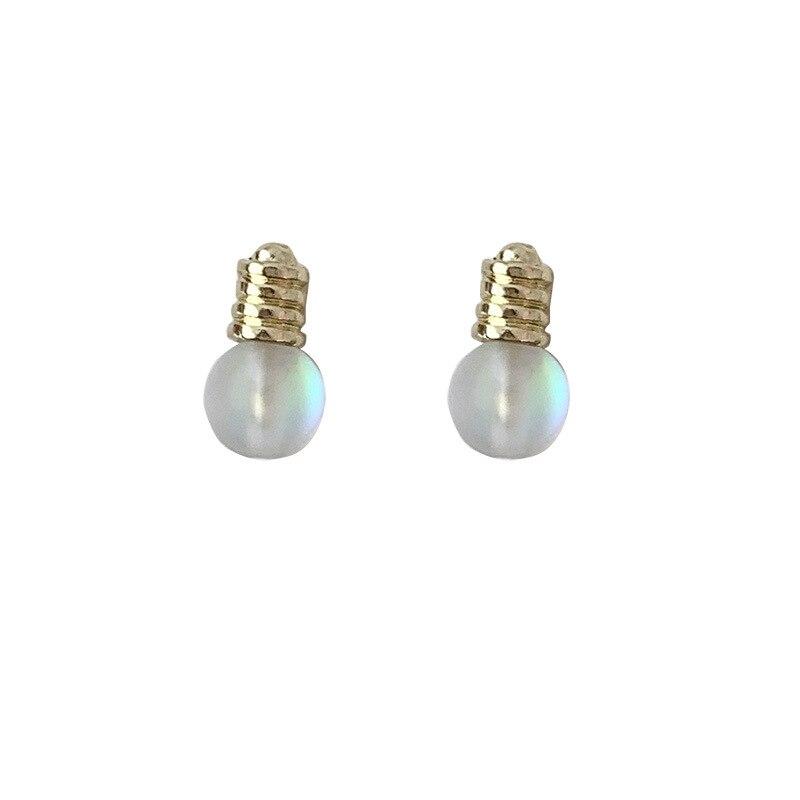 Korean Funny Light Bulb Magic Luster Stud Earrings Fashion Cute Lamp Bulbs Earrings for Women Girls Kids Ear Jewelry Gift Trend