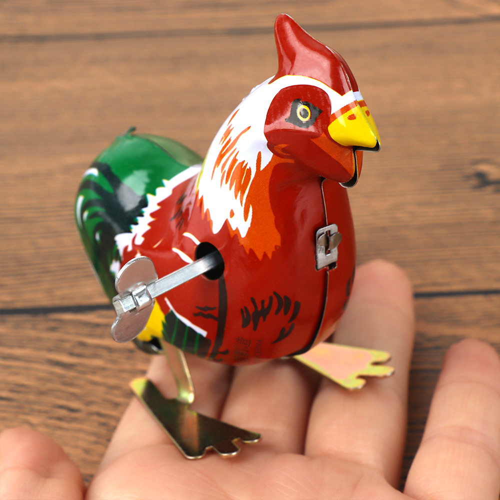 1 Pcs Vintage Metal Cartoon Cock Animal Clockwork Wind Up Early Educational Toy Unisex For Kid Children Gift 5*8*8 Cm