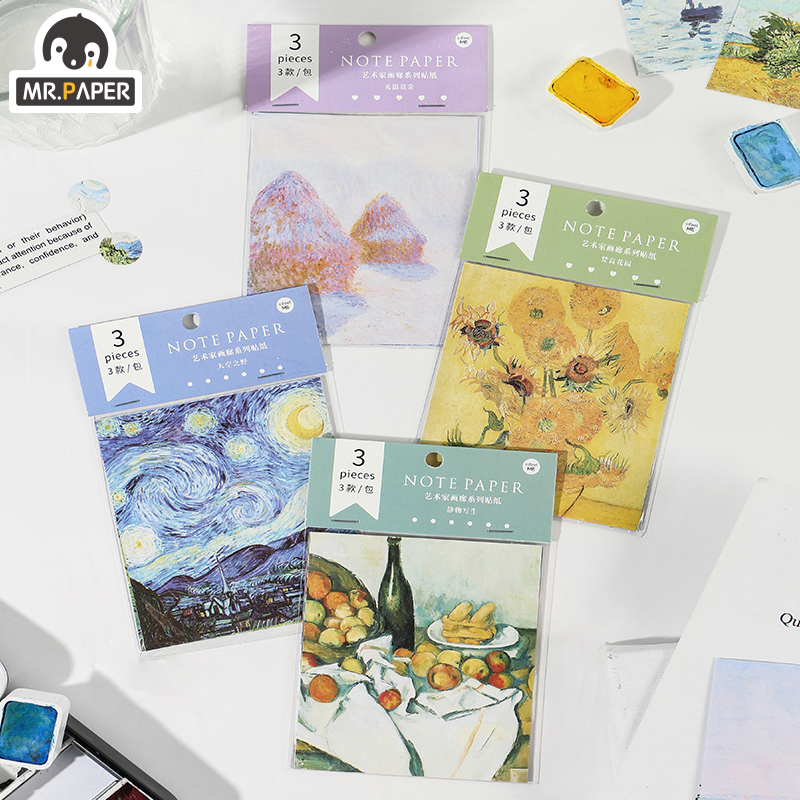 Mr.paper 4 Design 3Pcs Artistic Gallery Famous Sticker Scrapbooking Planner Laptop Cycle Toy Cool Doodling Decorative Stationery