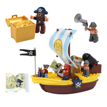 Carib Pirate Ship Model Big Building Block Parts Treasure War Compatible Bricks Figure Set Sailboat Water Toys For Children Gift