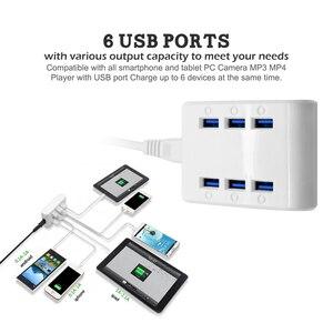 Image 5 - PUJIMAX 24W 4.8A 6 Poorten USB Hub Charger Power Station Mobiele Telefoon Oplader voor Samsung Huawei LG Iphone adapter EU/US/UK Plug