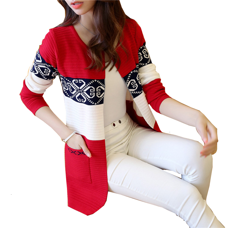 Women New Herf All -Match Patchwork Full Sleeve Slim Pocket Print Used Casual Vest Trui YM994