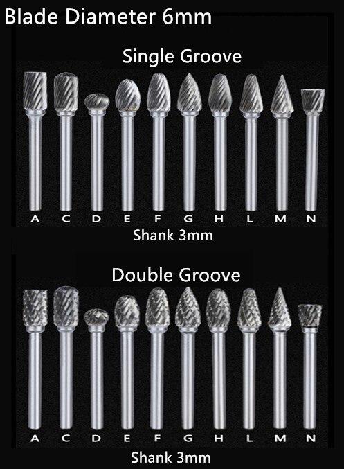 Jrealmer 5pcs/lot Tungsten Carbide Rotary Burrs 3mm Rob Head 3-6mm DIY  Milling Cutter Tungsten Carbide Burr Dremel Tools