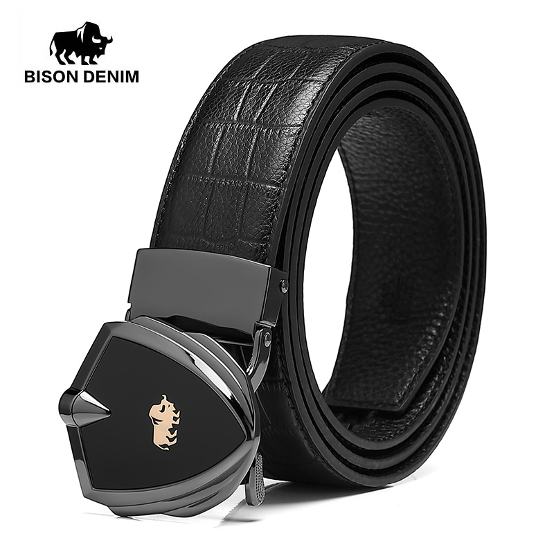 BISON DENIM Genuine Leather Men Belt Automatic Alloy Shield Buckle Luxury Cow Leather Strap Belt For Men High Quality N71518