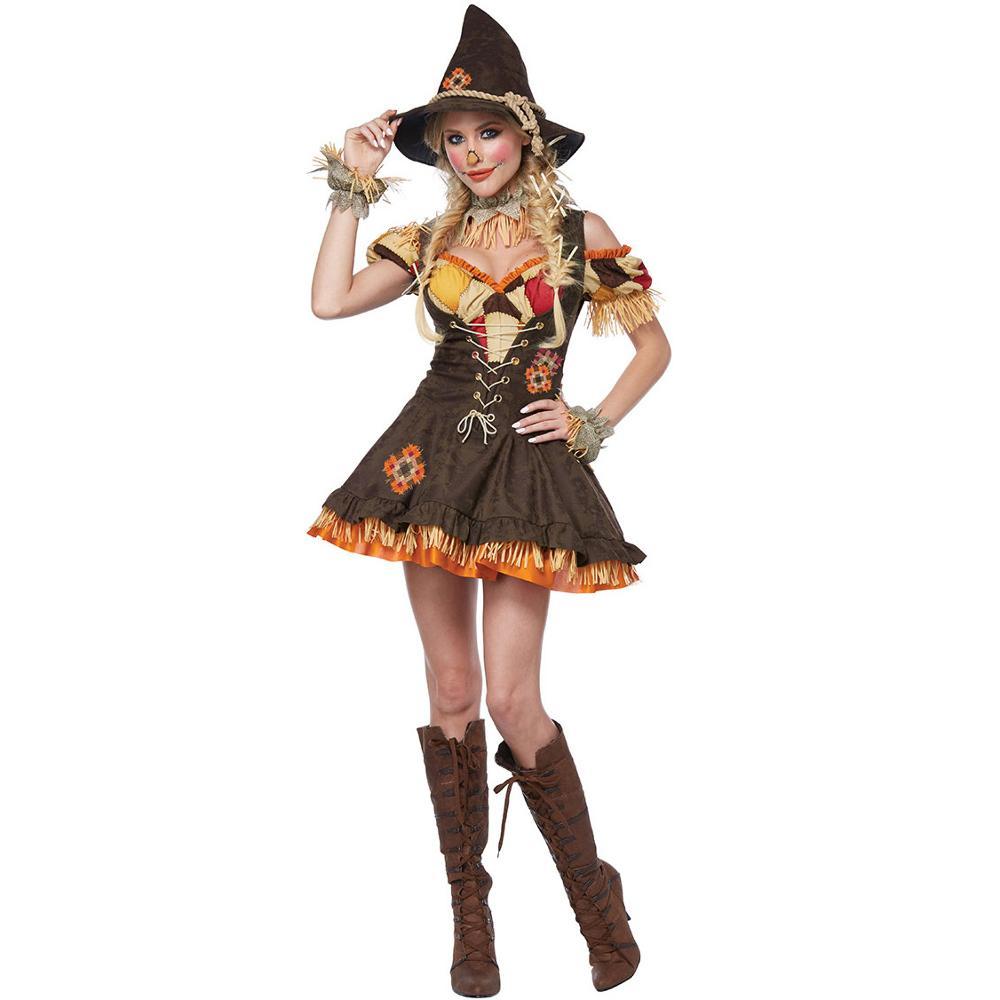 Yeni lüks palyaço cadı kostüm sihirbazı korkuluk kostüm rol yapma karnaval performans parti elbise cadılar bayramı kostüm fem