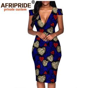 Image 1 - African summer dress for women AFRIPRIDE tailor made short sleeve knee length casual women pencil dress 100% cotton A1825074