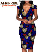 Afrykańska letnia sukienka dla kobiet AFRIPRIDE szyte na miarę z krótkim rękawem kolano długość casual kobiety sukienka ołówkowa 100% bawełna A1825074