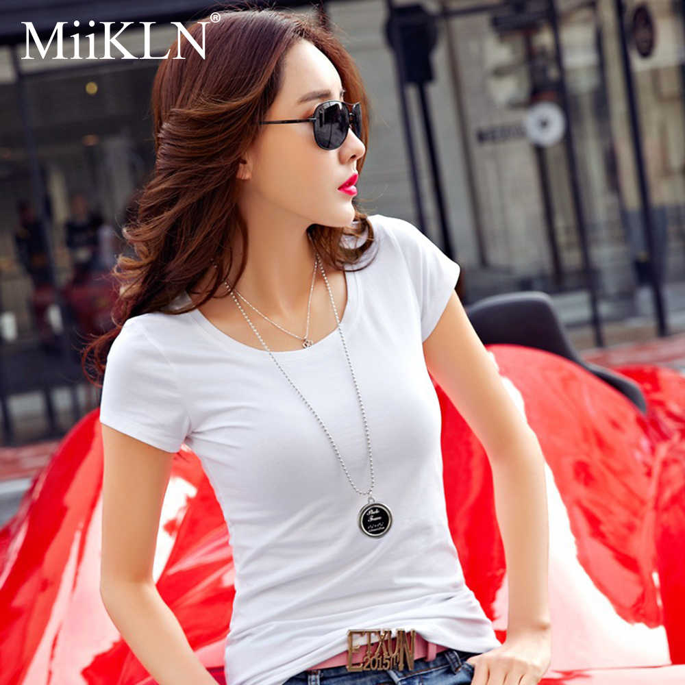 MiiKLN 우유 섬유 여름 여성 T 셔츠 여성용 블랙 화이트 반팔 V & 라운드 넥 여성 T-셔츠 S 4XL 여성 셔츠