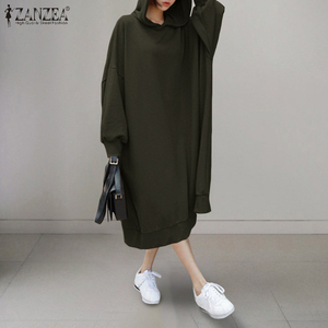 ZANZEA Autumn Long Sweatshirts Dress Women's Hoodies Long Sleeve Sundress Casual Hooded Pullover Party Vestido Plus Size Femme 7