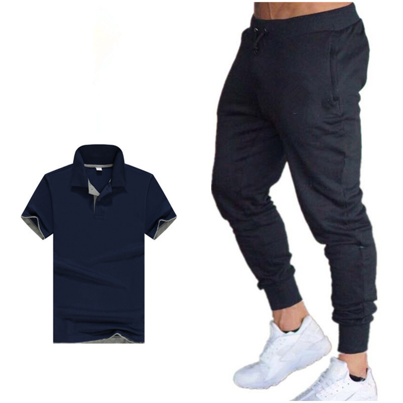 Summer New Style Korean-style Trend Short Sleeve Polo Two-Piece Set MEN'S Sportswear Men's Leisure Sports Suit Men's Fashion
