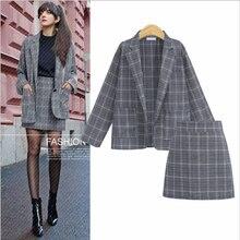 Diwish Skirt Suit Office Lady 2 Piece Set Plaid Fall 2019 Womens Sets Clothes A-line Long Sleeve Korean Style Plus-size