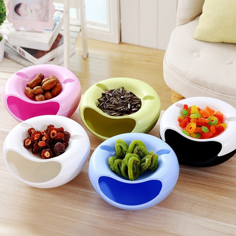 Creative Bowl Dish Double Layer Dry Fruit Snacks Seeds Containers Phone Garbage Holder Plastic Storage Box Jewlry Organizer