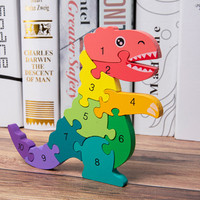 Digital Dinosaur Puzzle Children Preschool Educational Digital Wooden Dinosaur Puzzle Montessori Birthday Toy Boys Girls FH5